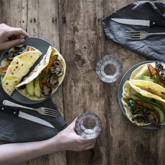 Vegan tacos with mushrooms, sweet potatoes and avocado