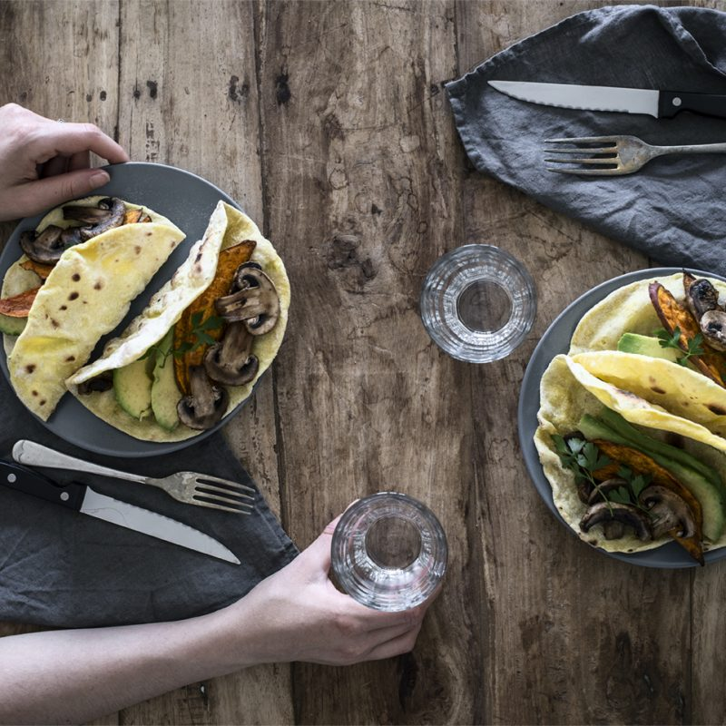Vegan tacos with mushrooms, sweet potatoes and avocado