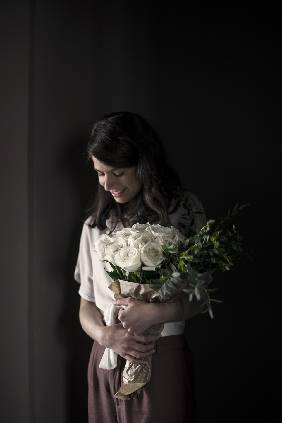 portrait woman with white roses