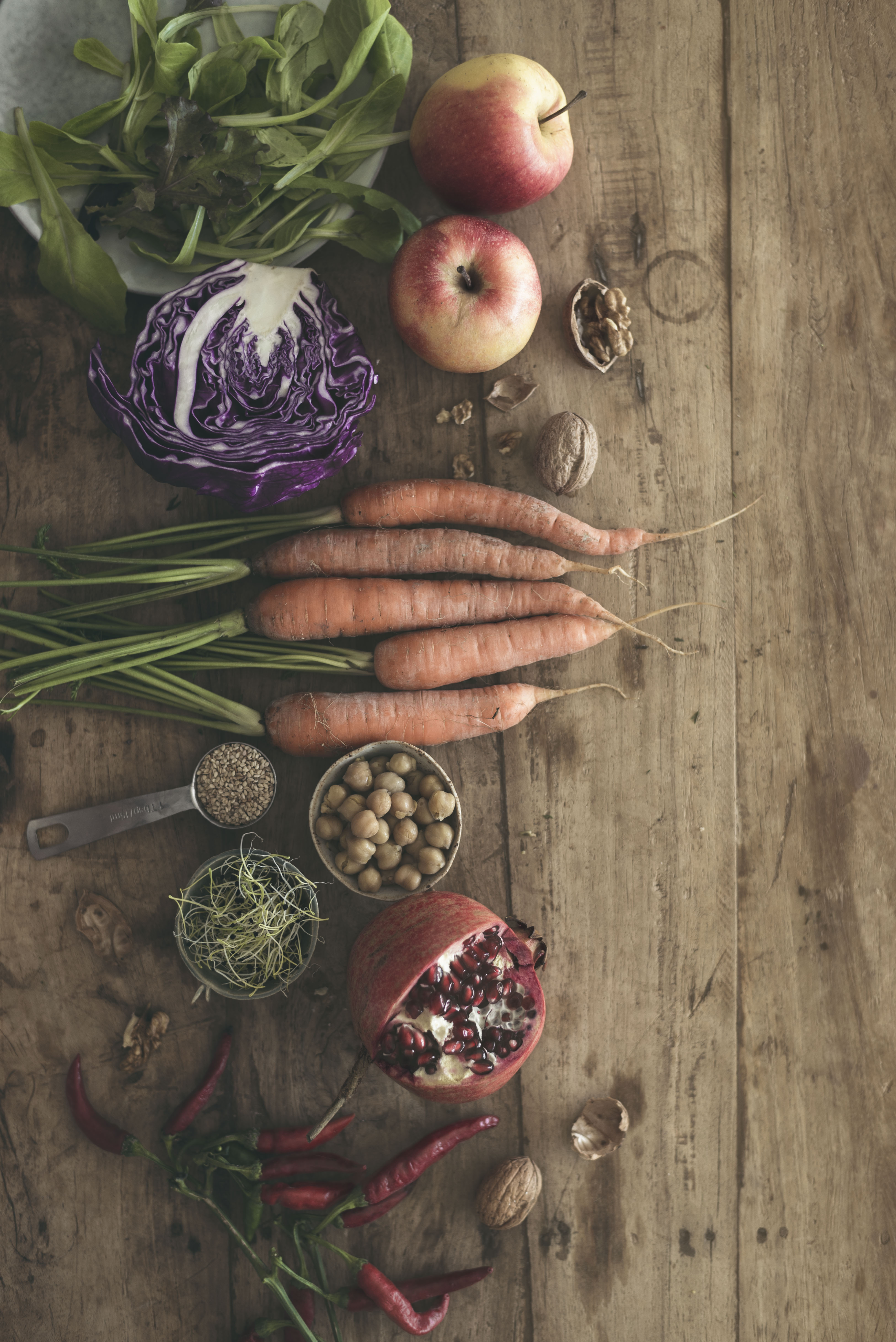 fall vegetables styling on a wooden rustic table
