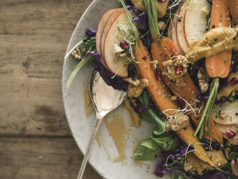 close up of a yummy vegan salad