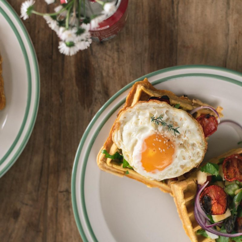 savory waffles with apple salad