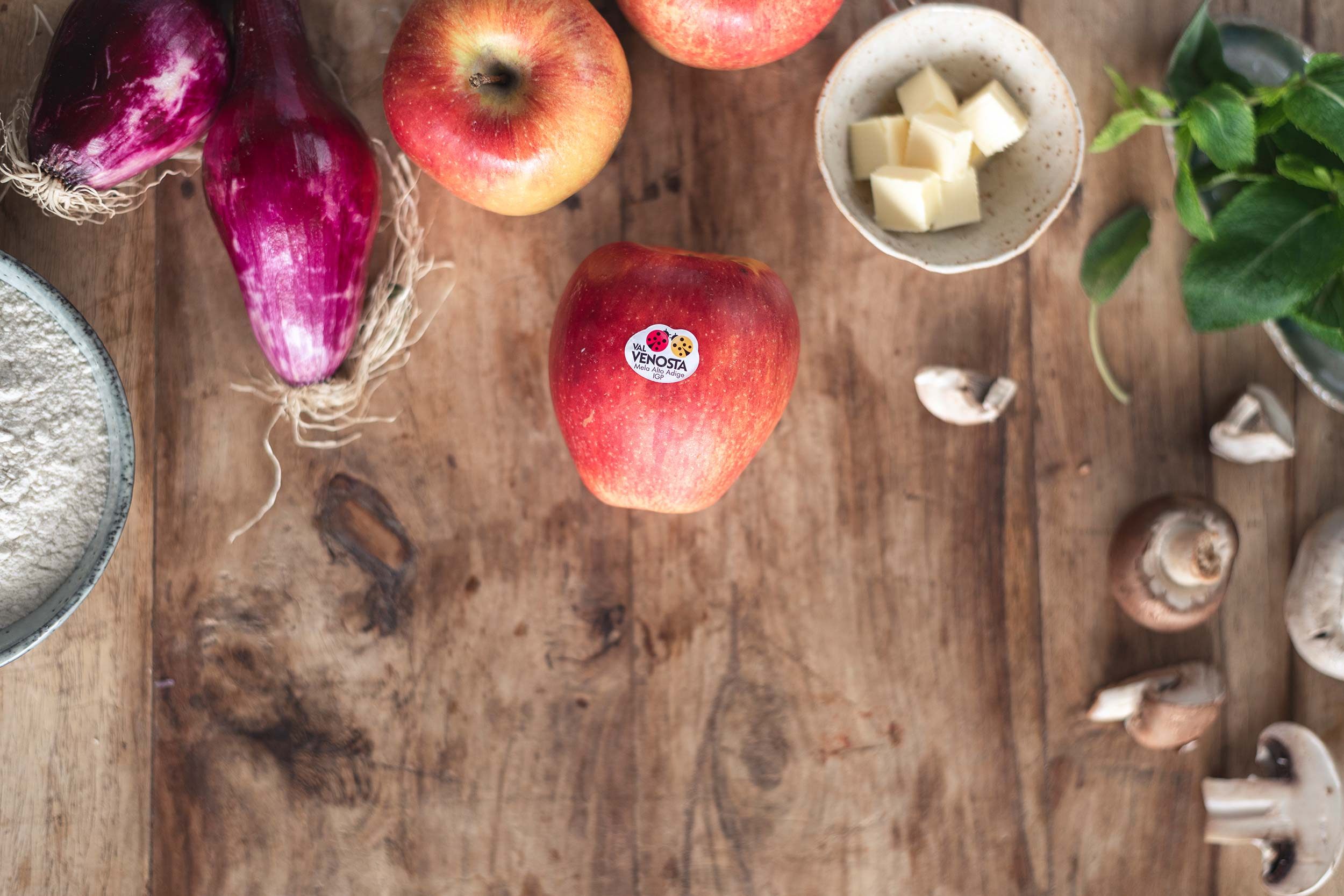 mushroom gallette with apples