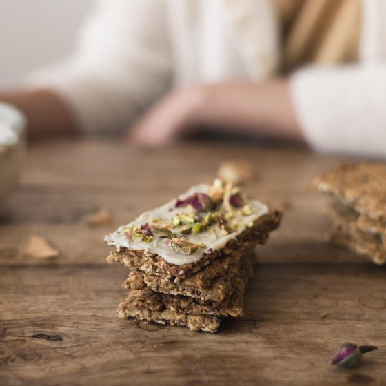 seeded apple cookies with white chocolate and pistachios