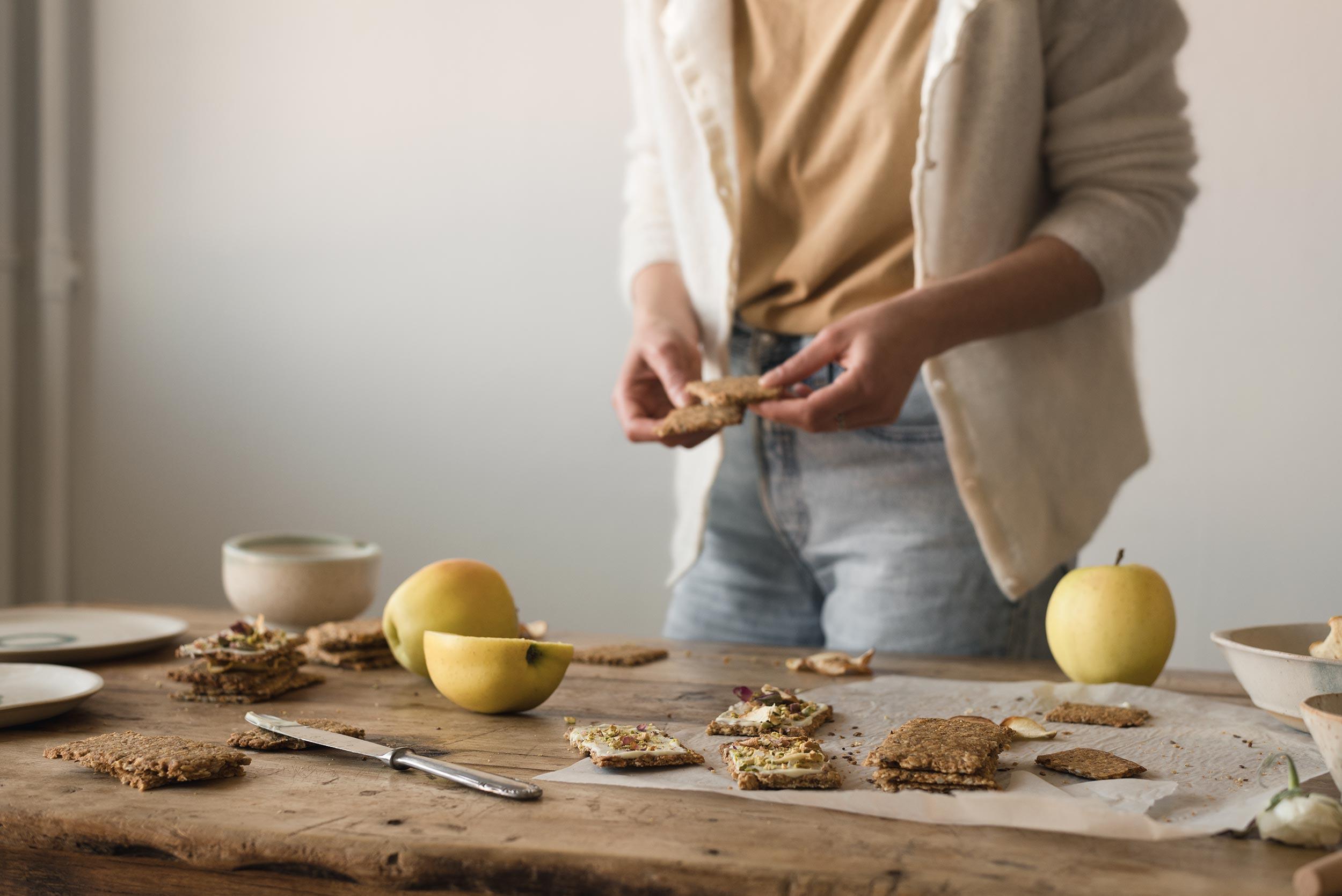 seeded apple cookies in the making