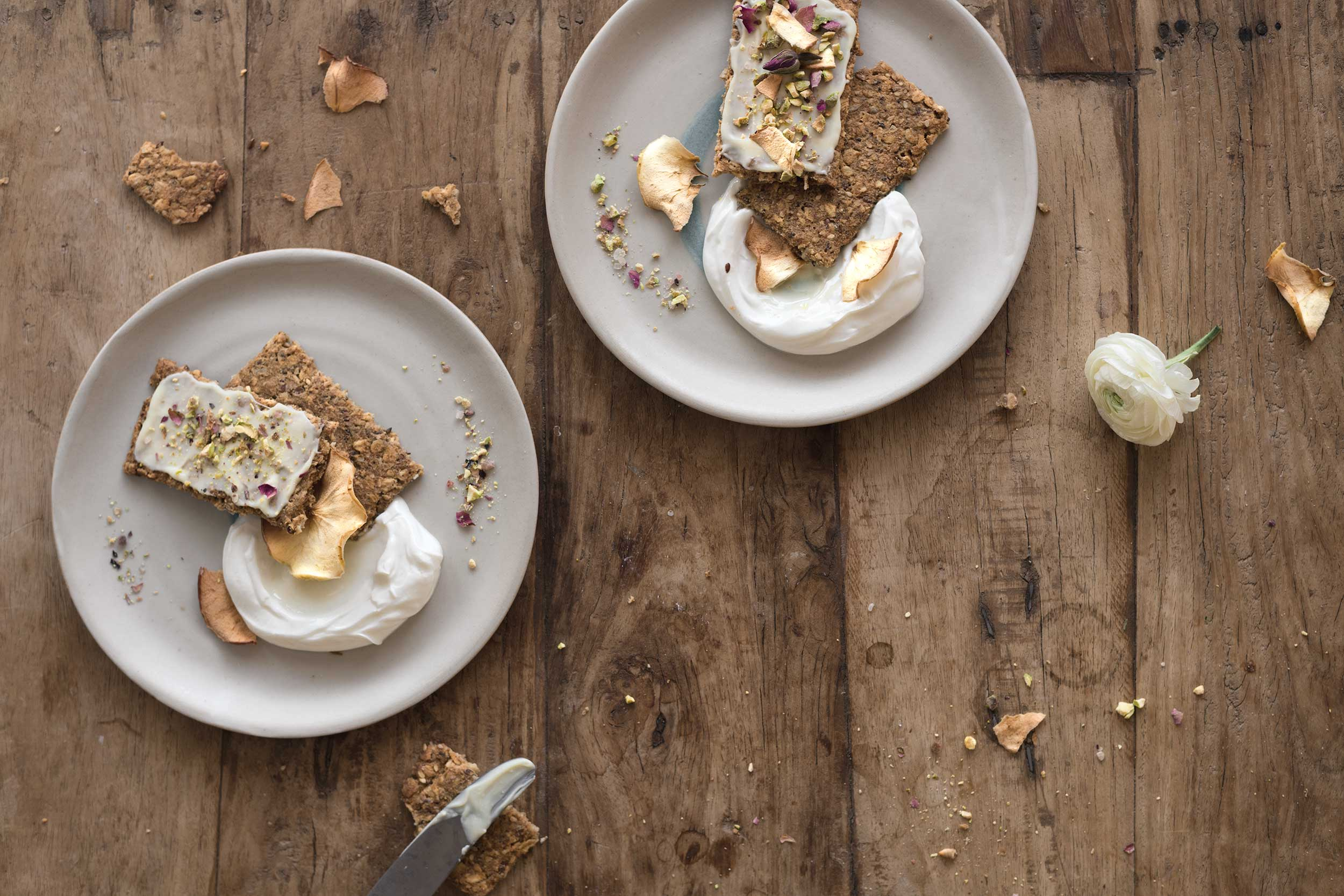 seeded apple cookies with yogurt and apple chips